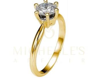 Diamond Engagement Ring 14K Yellow Gold Women Round Cut H VVS2 Certified 2.40 Carat Diamond Ring