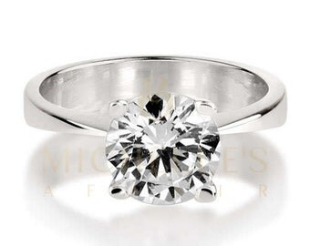 0.9 ct Bridal Diamond Ring For Women Round Cut Solitaire D VS1 White 18K Gold Setting For Ladies