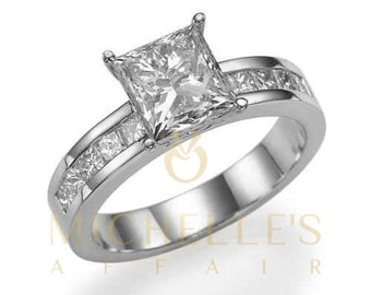 Ladies Engagement Ring 2 1/2 ct Princess Cut Diamond F VVS1 Solitaire With Accents Wedding Ring In White Gold Setting