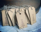Olde Christmas Tree- handstamped twig tree, primitive tree, simple, Christmas gift tags, set of 12