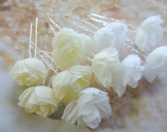 Wedding Hair flower  Ivory Or White Rose Hair Pins Wedding Headpiece Ivory Hair Flowers Rose Hair Pins Rose Headpiece