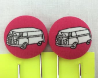 VW Hippie Van Covered Button Giant Paperclip, Bookmark, Organizer Clip