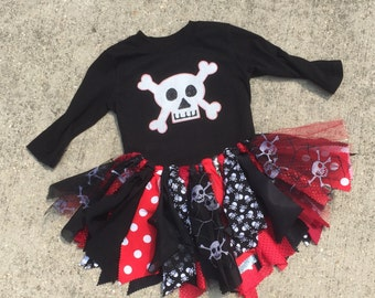 Girl pirate costume Pirate Princess Tutu - cruise clothes, pirate Tutu, shabby chic pirate fabric tutu skirt - Choose your size