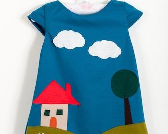 Applique dress,house in prairie dress,girls dress,handmade dress,unique clothing,children winter clothes