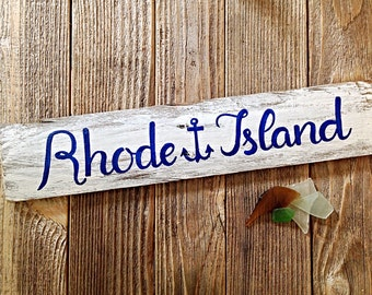 Rhode Island Reclaimed Wooden Sign-Nautical Anchor