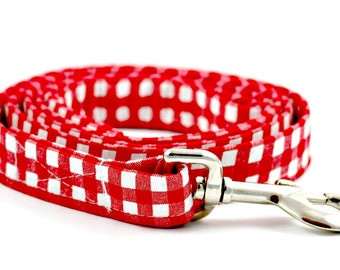 "Red Gingham Checkered Plaid Dog 5 ft Leash ""Gingham Style"""