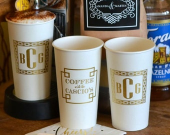 Personalized Printed Paper Cups, Custom Hot Drink Cups, Monogrammed Coffee Cups, Wedding Cups, Coffee Bar, Hot Chocolate Bar, Bridal Shower