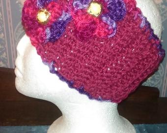 Pretty Cranberry/Multi Handmade Knitted/Crocheted Ear Warmer/Headband/Head Wrap