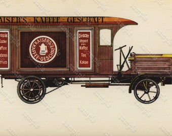 1975  Cars Lithographs  1913 Bussing LKW 38 PS  Truck Type Original From First Edition.