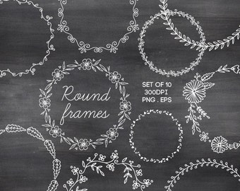 Doodle Round Borders Circle Frames Hand Drawn Chalk Clipart Vector EPS / INSTANT DOWNLOAD / Digital Wreaths Frames Set of 10 / 189
