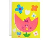 Big mom tulips screenprinted card