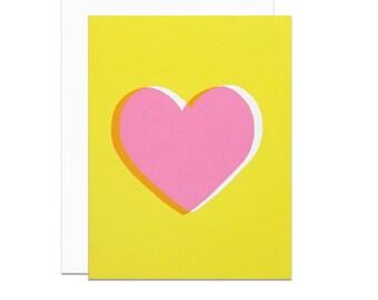 Pink heart yellow screenprinted card