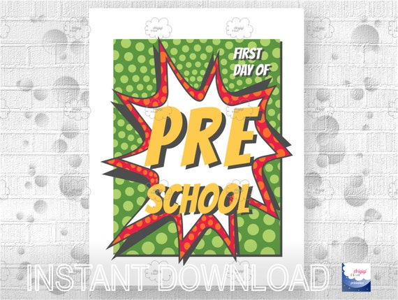 Printable Poster First Day of Preschool - PDF download