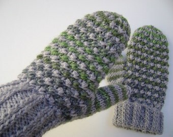 Grey/Green Hand Knit Mittens. Ready to ship.