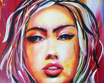 Large painting canvas acrylic girl pop art 24x36