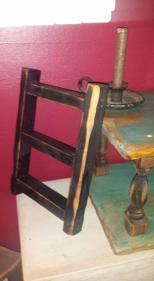 Small Rustic Primitive Distressed Black Ladder Home Decor