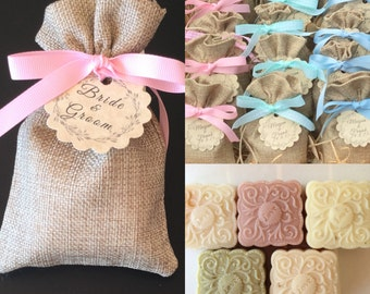 10 SOAP + Burlap Bag Wedding Favors, BABY Shower Soap Favors, Bridal Shower Favors, Wedding Soap favors, Handmade Soap,
