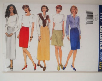 Butterick Sewing Pattern 5317 Misses' Lined Skirt in Size 8, 10, 12. Classics Fast and Easy