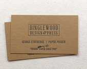 Kraft Letterpress Business Cards, Calling Card, Custom, Kraft, Rustic, Photographer, Event Planner, Logo, Simple, Affordable, Block font