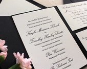 The Orchid Suite - Classic Letterpress Wedding Invitation Sample Black, White, pocket enclosure, Formal, Simple, Traditional, Vintage, Ivory