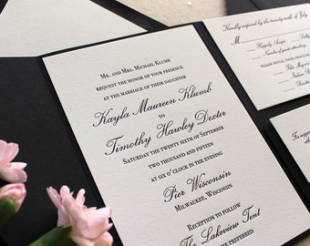 The Orchid Suite - Classic Letterpress Wedding Invitation Suite, Black, White, pocket enclosure, Formal, Simple, Traditional, Vintage, Ivory