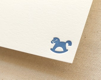 Letterpress Personalized Stationery, Set of 50 or more, Custom Flat Note Card Set, Thank you, baby shower, toy, boy, girl rocking horse S137