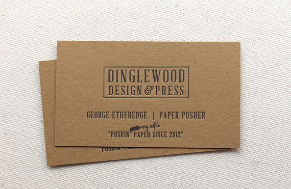 Kraft Letterpress Business Cards Calling Card Custom Kraft