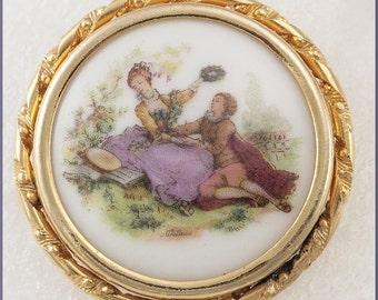 ON SALE Vintage Victorian Pictorial Limoge (France) Brooch Pin