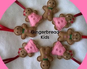 Gingerbread Man in Felt Christmas Decoration, Hanging Decoration, Tree Decoration