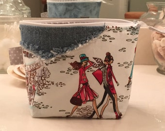 Zipper Cosmetic Bag or Pouch, Repurposed Jeans, One of a kind. Great gift!