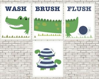 Kids alligator bathroom art, turtle bathroom art, boys shared bathroom, alligator wall art, turtle wall art, set of 4