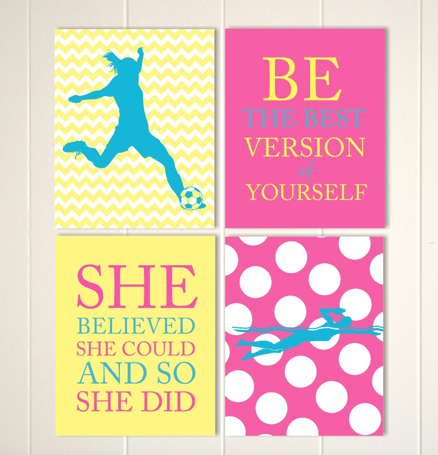 Girls soccer wall art soccer room decor girl swimmer wall