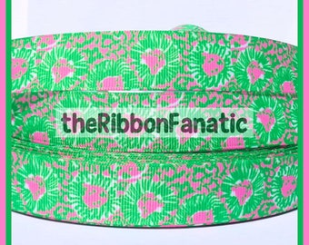 """5 yds 7/8"""" Lilly P. Fabric Inspired Vintage Style Lion Pink Green Preppy Grosgrain Ribbon"""
