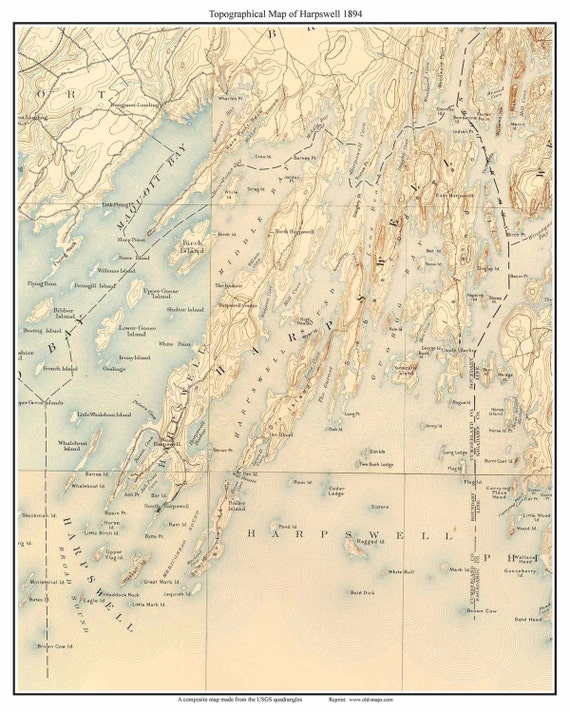 Harpswell 1894 Topographic Map USGS Custom Composite By Oldmap