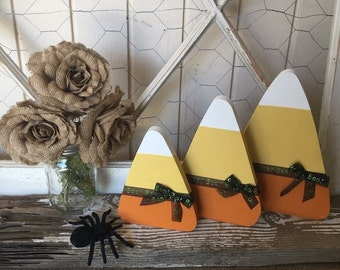 Candy corn decorative set, candy corn, set of three candy corn wooden Decor
