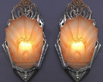 Wonderful Pair Vintage Art Deco Polished Original Nickel Sconces