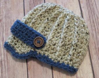 READY to SHIP Crochet Newsboy Hat, NEWBORN photo props, bringing home baby, shower gift, baby boy, winter hat, textured newsboy hat, oatmeal