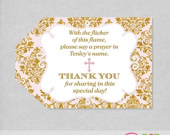 Baptism Favor Tag, Pink and Gold Thank you tag, 1st Communion Thank you, Christening Favor tag, Printable