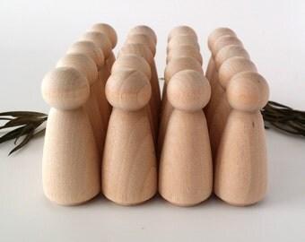 Wooden Peg Dolls / 20 Girls / Peg People / Waldorf / Unfinished Maple Ready to Paint / Twenty Girls