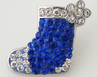 CZ Blue Christmas Stocking ~ Snap It SKB4372   Chunk Snap Button Popper  Interchangeable 18mm 20mm snap