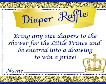 Royal Baby Shower Diaper Raffle, Little Prince Diaper Raffle, Instant Download - Digital File