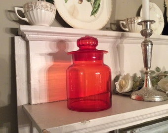 Brilliant Vintage Red Orange Glow Apothecary Jar