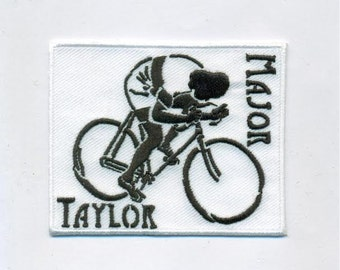 Major Taylor cycling patch, track bicycle patch, collectible design