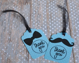 Blue Mustache and Bow Tie Thank You Gift Tags:  Boy's Birthday or Baby Shower, Groomsmen Gift Tags - set of 12