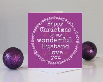 Husband Christmas card - Christmas card for Husband - Family Christmas cards - Wonderful Husband Christmas card - Love you Husband card