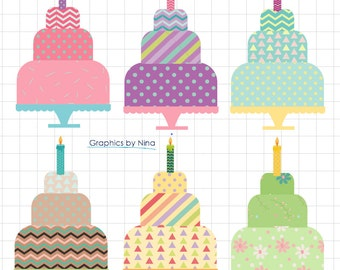 INSTANT DOWLOAD   Birthday Cakes clipart Birthday clipart  Scrapbook for Personal and Commercial Use