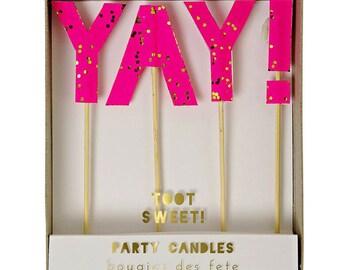 Yay! Bright Pink Party  Candles - Meri Meri Toot Sweet