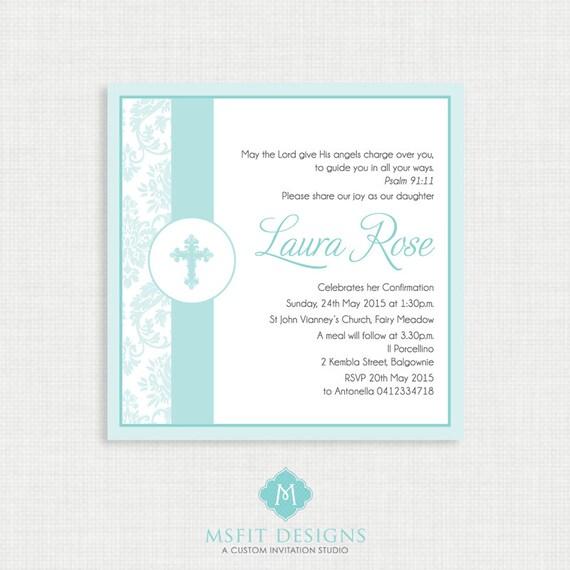 Printable Baptism Invitation- Girl Baptism Invitation - Demask Baby Invitations - Dedication, First Communion, Confirmation, Christening