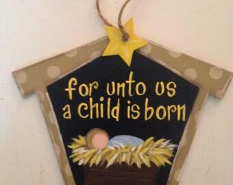 Manger scene ornament, nativity ornament, Christmas ornament