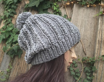 READY TO SHIP gray Slouch Beanie ,Slouchy  Hat Button ,Hand Knit Winter , Adult, Teen hat , gray   Chunky  hat, women's hat, Lorenovedades